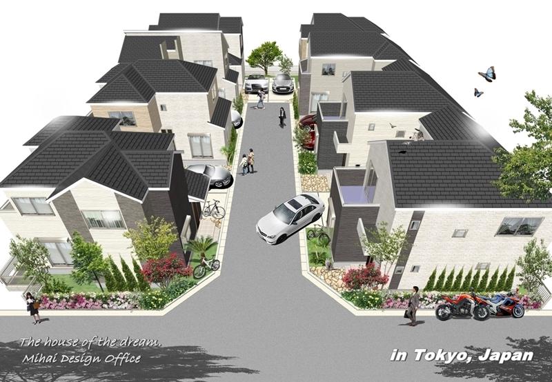 東京の建売分譲住宅外観パース
