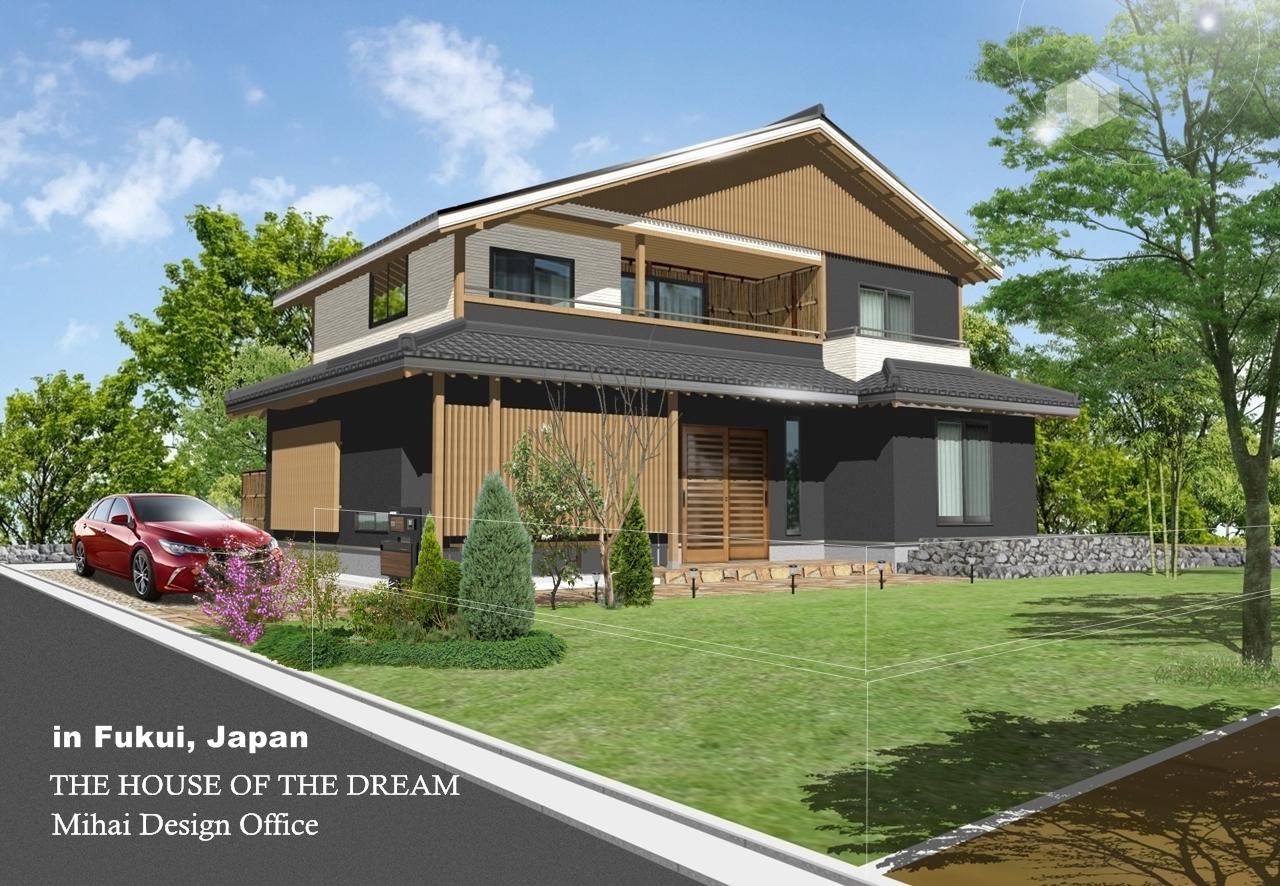 現代和風注文住宅外観パース