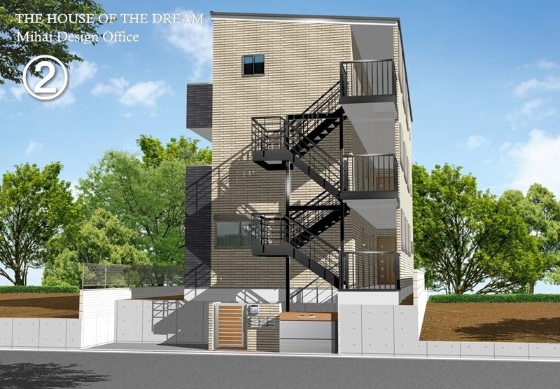 アパート建築パース・アパート外観パース