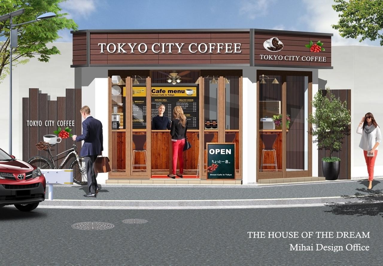 コーヒーショップ建築パース・コーヒーショップ外観パース