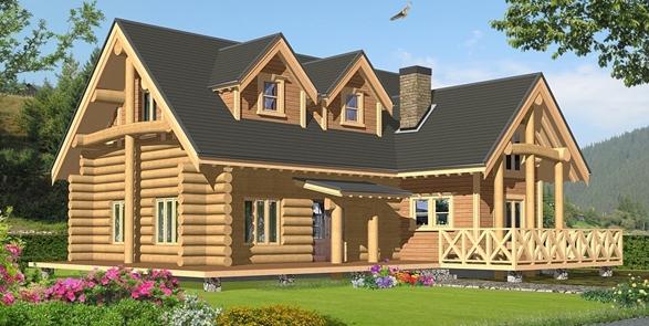 ログハウス建築パース LOG HOUSE
