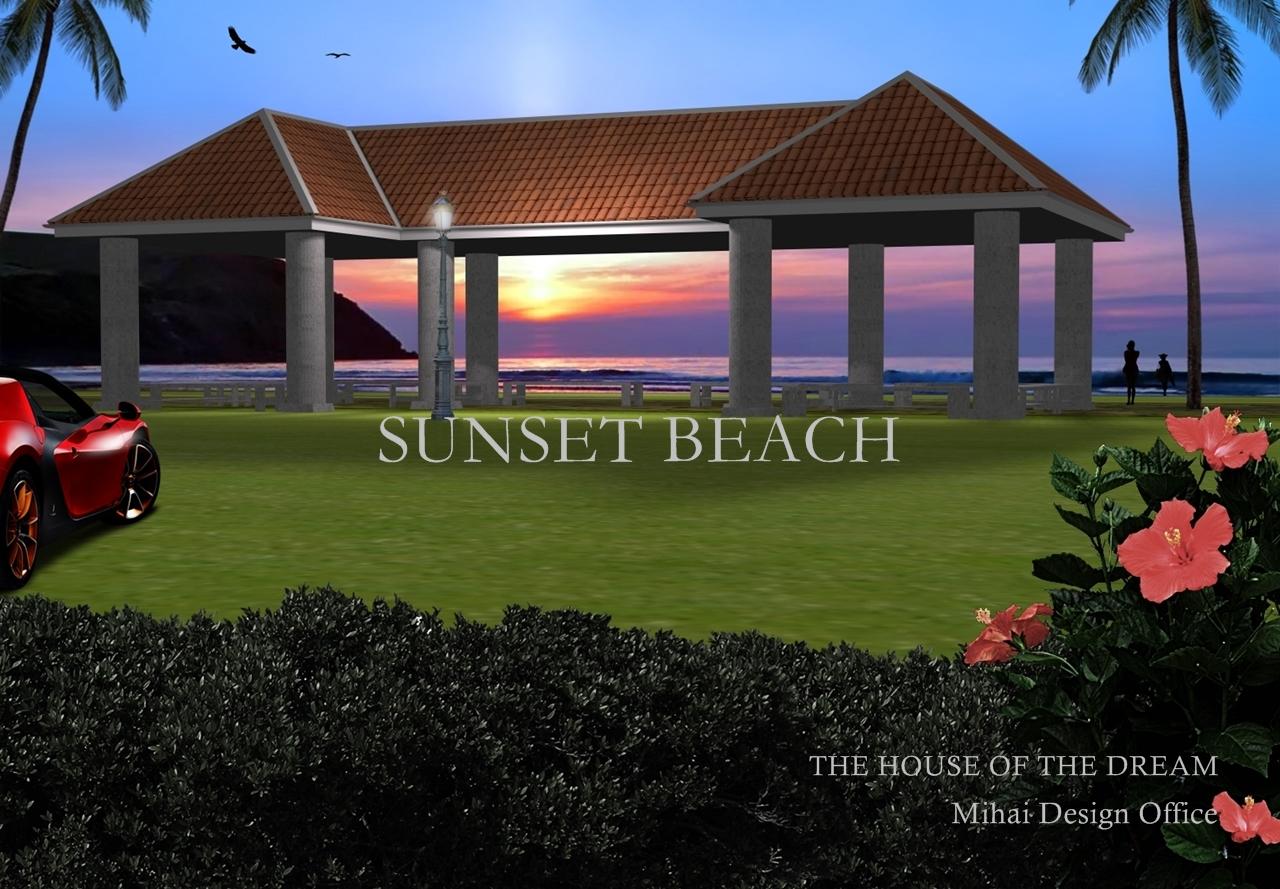 サンセットビーチ休憩所建築パース