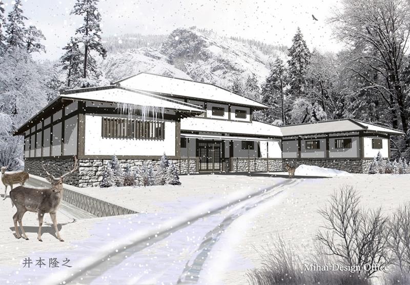 雪国の家外観パース・雪国の家建築パース