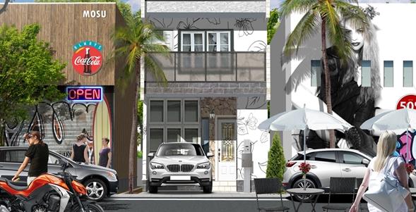 戸建住宅と街並み建築パース