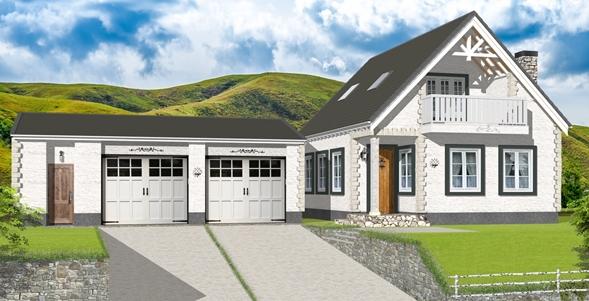 高原に建つ家建築パース